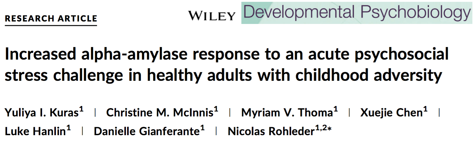 "Zum Artikel ""Neue Publikation: Increased alpha-amylase response to an acute psychosocial stress challenge in healthy adults with childhood adversity"""