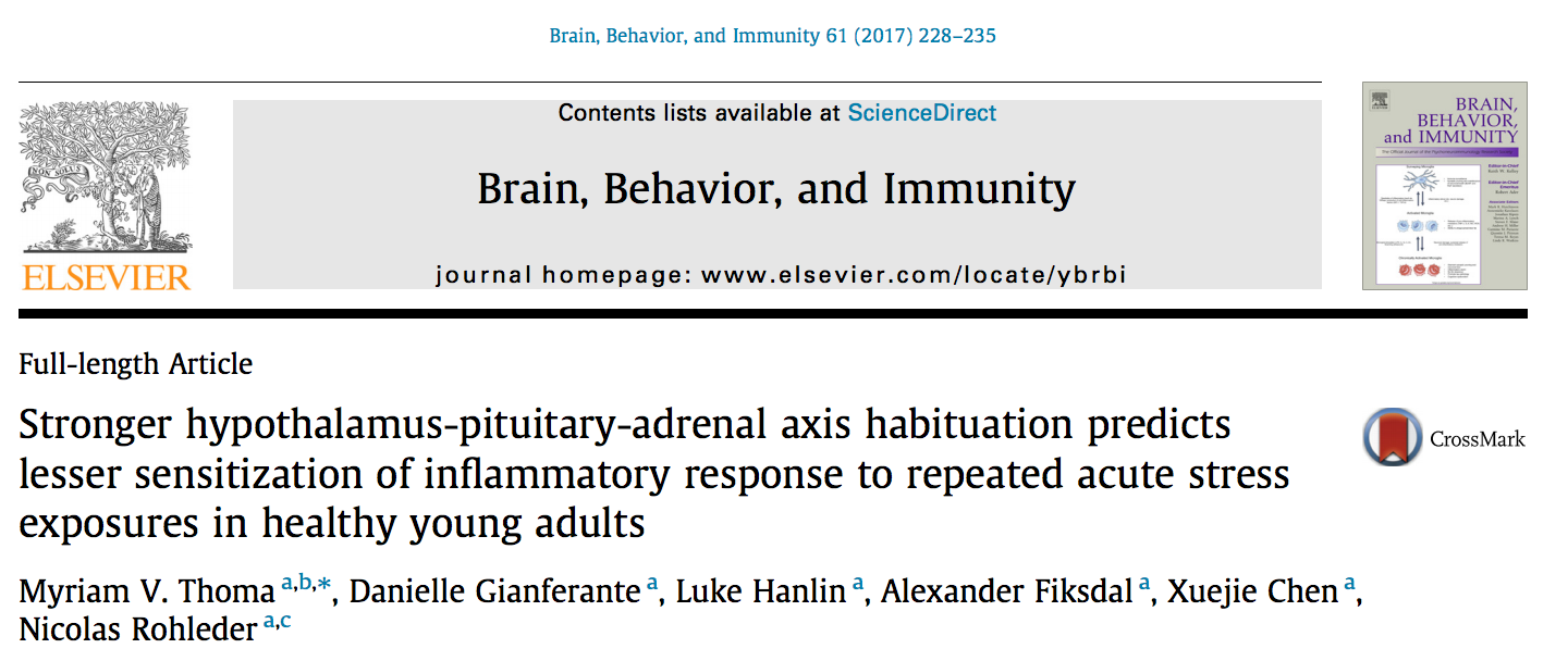 "Zum Artikel ""New Paper: Stronger hypothalamus-pituitary-adrenal axis habituation predicts lesser sensitization of inflammatory response to repeated acute stress exposures in healthy young adults"""