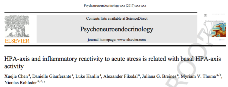 "Zum Artikel ""New Paper: HPA-axis and inflammatory reactivity to acute stress is related with basal HPA-axis activity"""