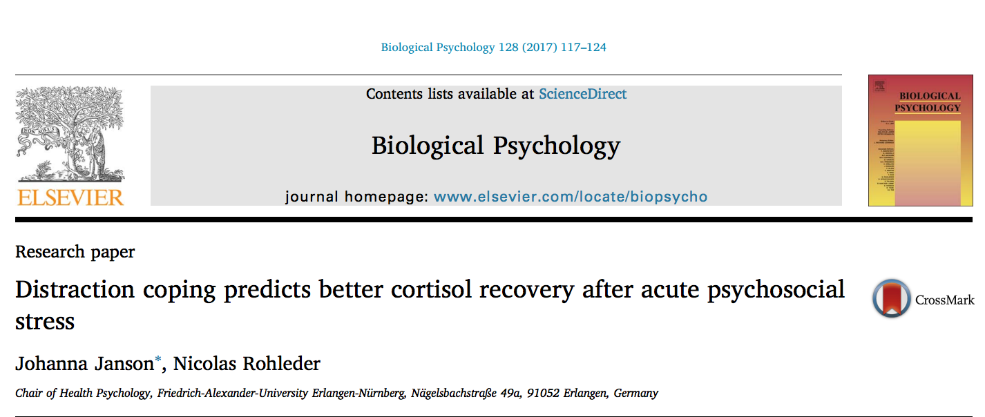 "Zum Artikel ""New Paper: Distraction coping predicts better cortisol recovery after acute psychosocial stress"""